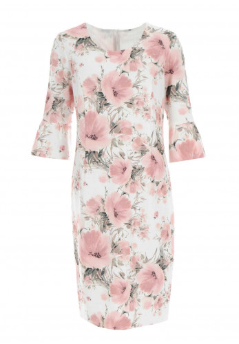 Via Veneto Floral Fluted Cuff Dress, Pink Multi
