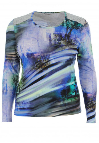 Via Veneto Sequin Trim Printed Top, Blue Multi