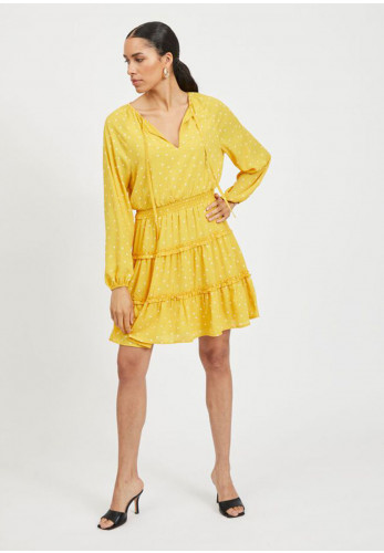 Vila Dotties Long Sleeve Ruffle Mini Dress, Yellow