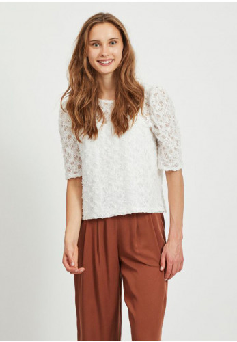 Vila Iccan Puff Sleeve Party Top, White