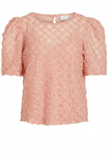 Vila Iccan Puff Sleeve Party Top, Misty Rose