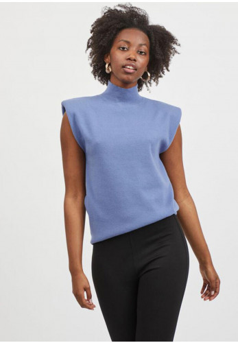 Vila Loise High Neck Knitted Top, Colony Blue