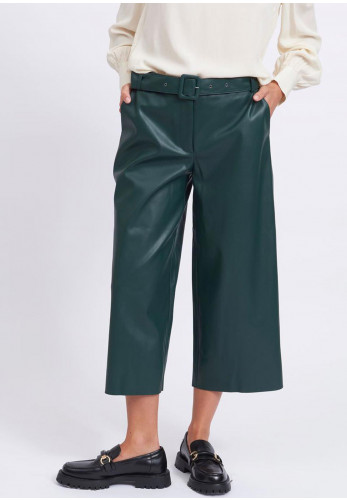 Vila Dolores Faux Leather Wide Leg Cropped Trousers, Forest Green