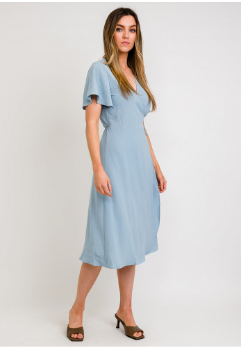 Vila Lovie True Wrap Dress, Blue