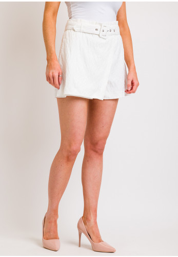Vila Sumine Textured High Waist Shorts White