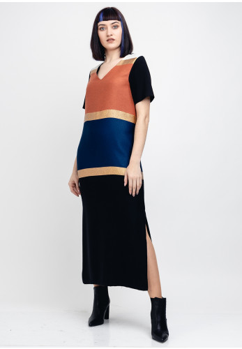 Vilagallo Colour Block Midi Dress, Multi-Coloured