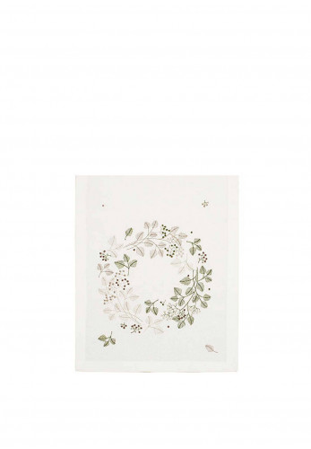 Walton & Co Embroidered Wreath Table Runner, White