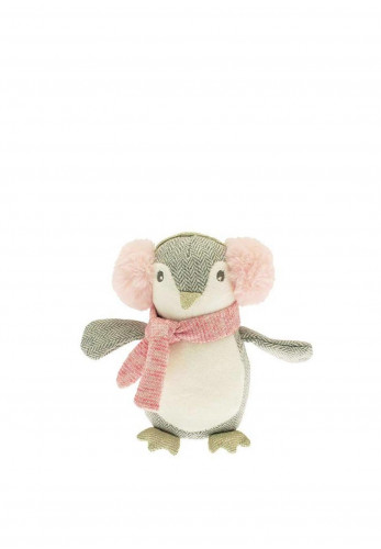 Walton Lifestyle Penguin with Earmuffs Soft Toy, Grey & Pink