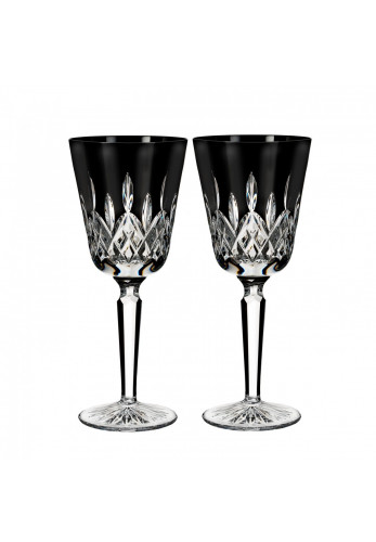 Waterford Crystal Lismore Black Tall Goblet Pair
