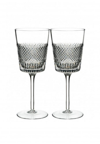 Waterford Crystal Diamond Line Set of 2 Wine Glasses