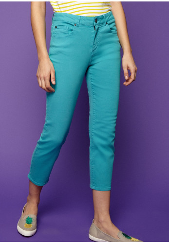 White Stuff Ash Straight Cropped Jeans, Teal Blue
