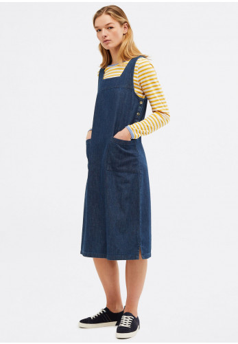 White Stuff Moonshine Denim Pinafore Dress, Navy