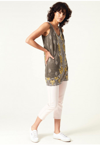 White Stuff Warm Oceans Printed Jersey Tunic Top, Olive Green