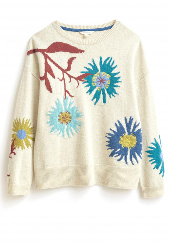 White Stuff Flora Floral Knitted Jumper, Natural Multi