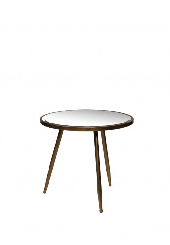 WJ Sampson Antique Gold Mirrored Round Table