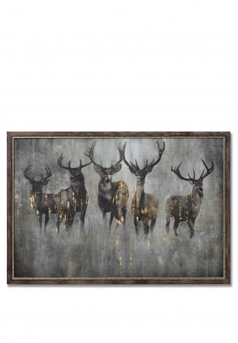 WJ Sampson Curious Stag Painting on Cement Wall Art