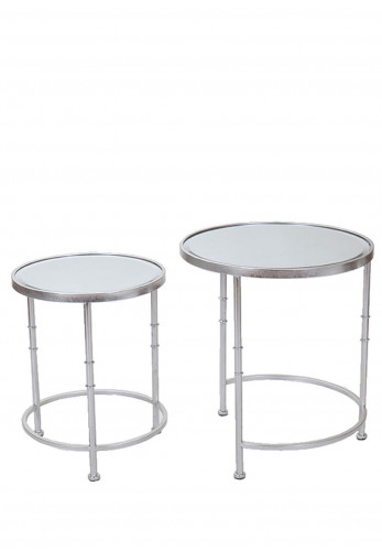 WJ Sampson Set of 2 Round Silver Nest Tables