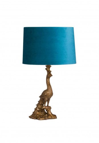 WJ Sampson Antique Gold Peacock Lamp with Teal Shade