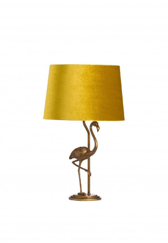 WJ Sampson Antique Gold Flamingo Lamp with Mustard Shade