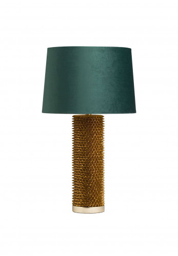 WJ Sampson Antique Gold Table Lamp with Green Shade