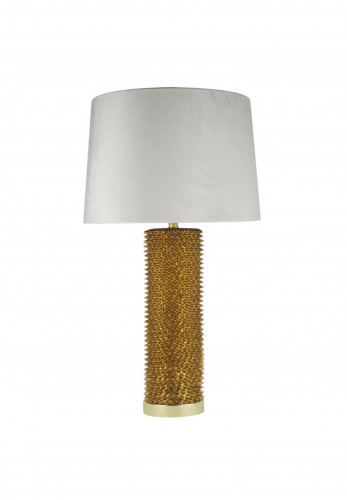WJ Sampson Antique Gold Table Lamp with Chalk Shade