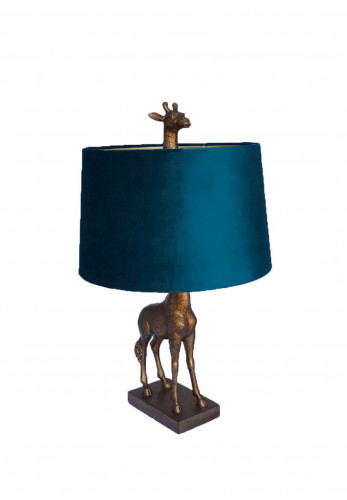 WJ Sampson Antique Gold Giraffe Lamp with Teal Shade