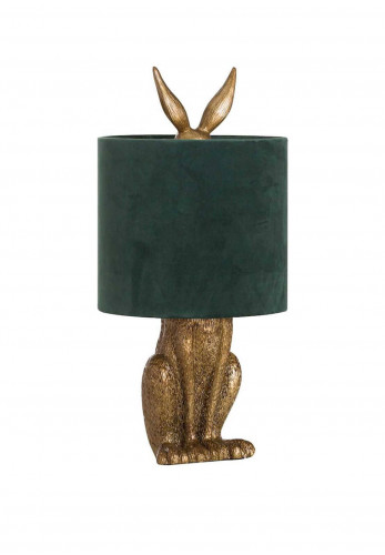 WJ Sampson Antique Gold Hare Lamp with Green Shade