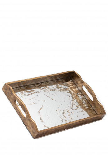 WJ Sampson Augustus Large Mirrored Tray with Marbling Effect