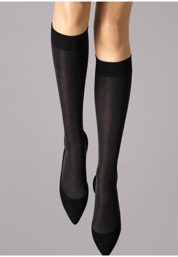 Wolford Velvet De Luxe Knee High Tights, Black