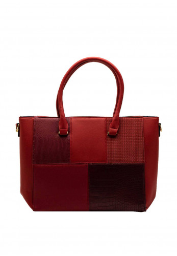 Zen Collection Panel Print Large Tote Bag, Red