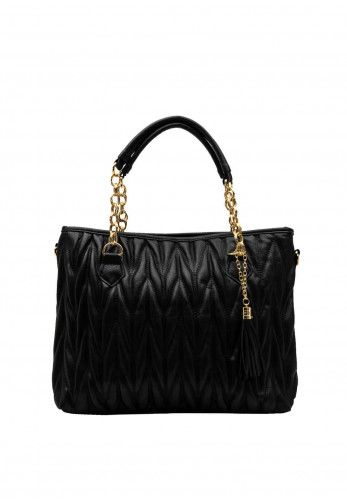 Zen Collection Textured Quilt Chain Large Tote Bag, Black