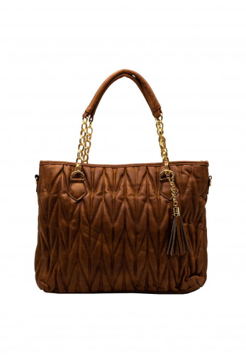 Zen Collection Textured Quilt Chain Large Tote Bag, Brown