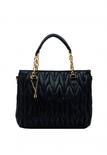 Zen Collection Textured Quilt Chain Large Tote Bag, Navy