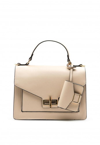 Zen Collection Twist Lock Grab Bag, Beige