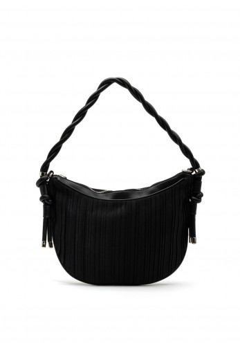 Zen Collection Pleated Strap Shoulder Bag, Black
