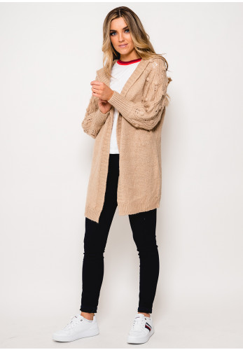 Seventy1 Hooded Bobble Knit One Size Long Cardigan, Taupe