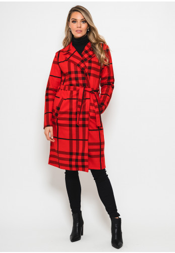 Seventy1 Check One Size Coat, Red