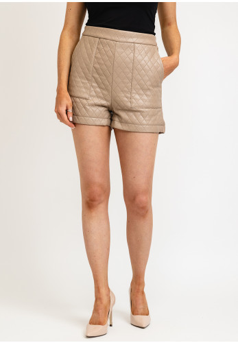 Seventy1 Quilted Faux Leather Shorts, Beige