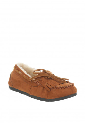Boutique Faux Suede Moccasin Slippers, Camel