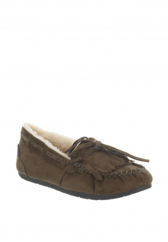 Boutique Faux Suede Moccasin Slippers, Green