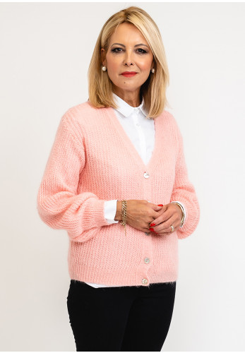 Leon Collection One Size Knit Cardigan Block Colour, Baby Pink