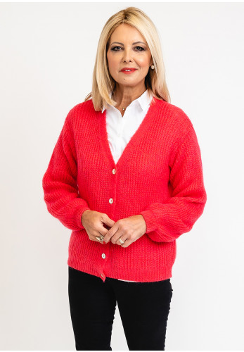 Leon Collection One Size Knit Cardigan Block Colour, Hot Pink