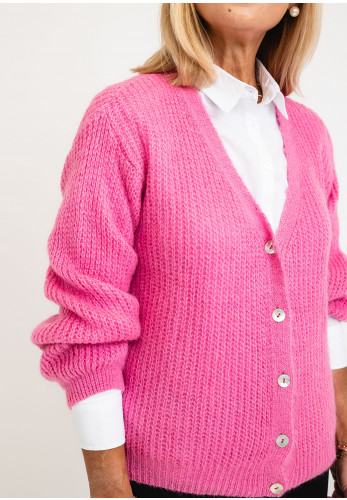 Leon Collection One Size Knit Cardigan Block Colour, Pink