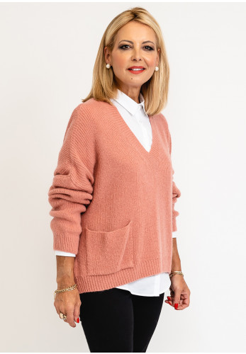 Leon Collection One Size Knit Jumper Block Colour, Rose Pink