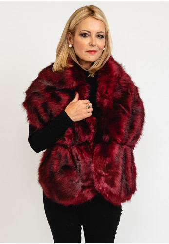 Leon Collection One Size Faux Fur Shawl, Wine