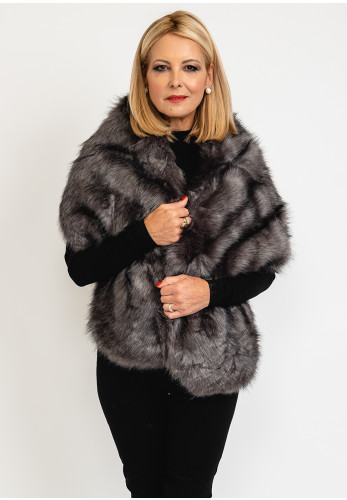 Leon Collection One Size Faux Fur Shawl, Grey