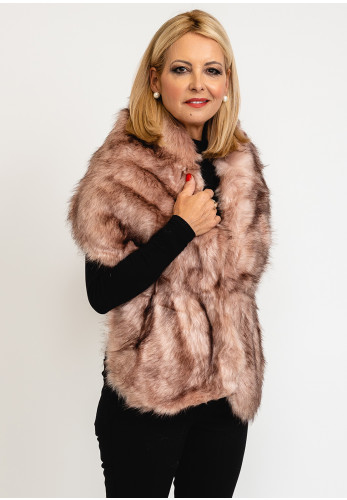 Leon Collection One Size Faux Fur Shawl, Beige