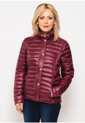 Leon Collection Ribbon Trim Quilted Jacket, Wine