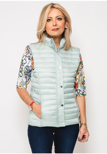 Leon Collection Ribbon Trim Quilted Gilet, Mint Green