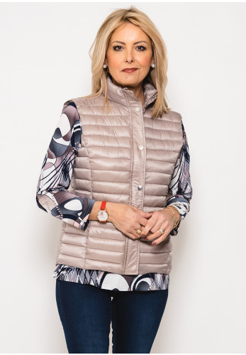 Leon Collection Ribbon Trim Quilted Gilet, Taupe